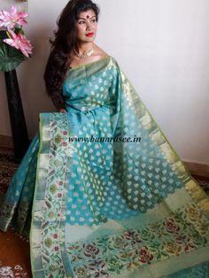 Banarasee/Banarasi Handloom Dual Tone Cotton Silk Mix Jamdani Sari-Blue