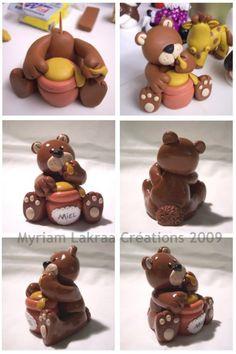 Ours gourmand, pas à pas - Pâte polymère Fimo (polymer clay bear and honey) - Myriam Lakraa Créations