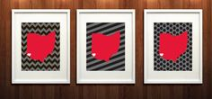 Cincinnati Ohio State Set of Three Giclée Prints  by PaintedPost, $37.00 #paintedpoststudio - University of Cincinnati - Bearcats- What a great and memorable gift for graduation, sorority, hostess, and best friend gifts! Also perfect for dorm decor! :)