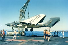SEA VIXEN 893 SQN - This aircraft suffered a collapsed nose oleo while landing on HMS Hermes and taken by lighter to Limassol harbour on The aircraft was subsequently scrapped at RAF Akrotiri Navy Aircraft, Ww2 Aircraft, Aircraft Carrier, Military Jets, Military Aircraft, Post War Era, Flight Deck, Mechanical Engineering, Royal Navy
