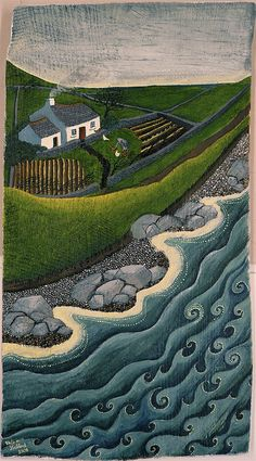 Ynys. Valeriane Leblond enjoys painting on rustic wood. A native of Quebec, she relocated to Wales and drew inspiration from its lovely landscapes with rocky cliffs and windswept seas. She paints simple pleasantries of village life. You'll see handmade quilts and charming cottages. Men out fishing or tending sheep. Women feeding the chickens, hanging laundry out to dry, or picking berries.