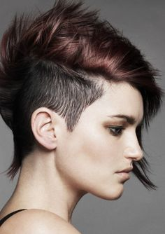 I like the two color aspect of this one.  I think I would do purple hair again with natural shaved side.
