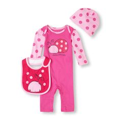 With our 3-piece coverall set, your little lady bug will be spot-on for spring!