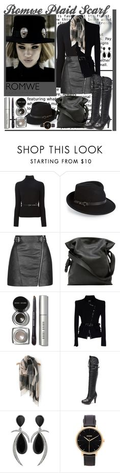 Romwe Plaid Scarf by lovee39 on Polyvore featuring Dsquared2, Gai Mattiolo, Topshop, Loewe, Nixon, Eric Javits and Bobbi Brown Cosmetics