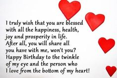 Happy Birthday Wishes, Images, Messages, Cards, Pictures and SMS. Send these best birthday wishes and birthday wishes images with messages and quotes Happy Birthday Quotes For Him, Birthday Wishes For Lover, Birthday Message For Boyfriend, Romantic Birthday Wishes, Best Birthday Quotes, Happy Birthday My Love, Birthday Bash, Husband Birthday, Funny Birthday