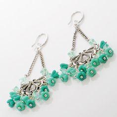 Aqua Flower Chandelier Earrings Bleubangles by LavenderRabbit, $12.00