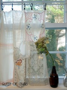 curtains made from vintage handkerchiefs