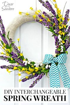 Easy DIY Interchangeable Spring Wreath Step By Step Tutorial