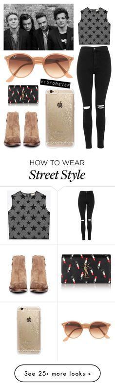 """""""#1Dforever"""" by wendycontreras on Polyvore featuring Topshop, H by Hudson, Ray-Ban, Rifle Paper Co and Yves Saint Laurent"""