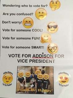 Elementary School Election Poster. Emojis!!!