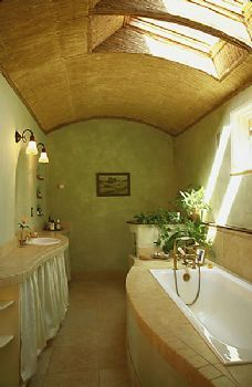 gorgeous straw bale bathroom