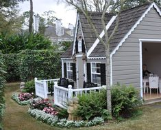 Playhouse-I like that you can watch kids from side. Also like the front porch - Kids playhouse Backyard Playhouse, Build A Playhouse, Backyard Patio, Playhouse Ideas, Outdoor Playhouses, Cottage Porch, Backyard Cottage, Cubby Houses, Play Houses