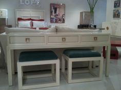 Three Drawer Console from Somerset Bay with teal upholstered benches. Love the brass pulls. Find Furniture, Furniture Making, Furniture Design, Furniture Ideas, Sofa Tables, Console Tables, Somerset Bay, Upholstered Stool, Interior Design Business