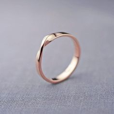 Rose Gold Plated Plain Twisted Band Women Ring 925 Sterling Silver Cz Gift New* #NikiGems #Band