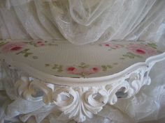 hp shabby chic pink hand painted rose romantic cottage vintage shelf bed crown #Homco #shabbychic