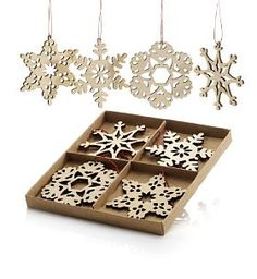 8 Laser-Cut Wooden Snowflake Tree Decorations