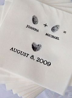 Wedding Cocktail Napkins personalized with the couples& fingerprint Perfect Wedding, Our Wedding, Dream Wedding, Wedding Cocktail Napkins, Southern Weddings, I Got Married, Here Comes The Bride, Marry Me, Just In Case