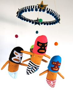 Luchador Baby Mobile for a Colorful Modern Nursery // Little handmade masked luchador flying wrestlers to keep your little one entertained Wrestling Outfits, Mexican Design, Softies, Plushies, Mobiles, Baby Mobile, Doll Toys, Dolls, Baby Boy Rooms