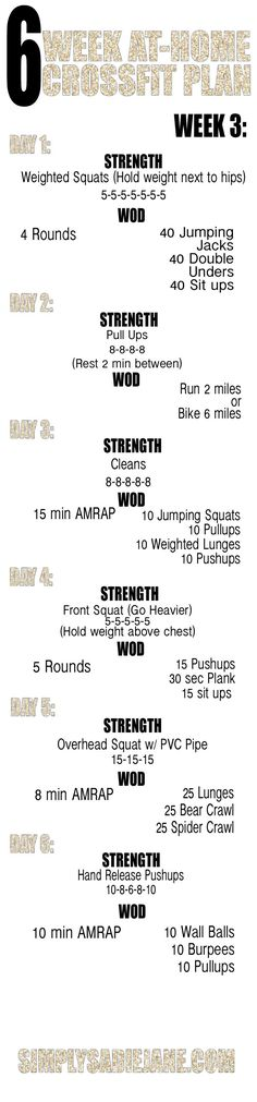 6 week AT-HOME CrossFit INSPIRED workout plan! good for starting others on their Crossfit journey! Reto Fitness, Tips Fitness, Sport Fitness, Fitness Motivation, Health Fitness, Fitness Plan, Yoga Fitness, Fitness Workouts, Body Workouts