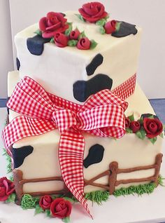Country Cow Print Black or Brown on White, with Red Roses and Check Ribbon, Available in Blue, Green, or Purple, White or Chocolate, 1/4, 1/2, or Full Sheet ONLY, Please Notate Color Upon Ordering, Please Provide Topper of Your Choosing at the Time of Ordering for Placement