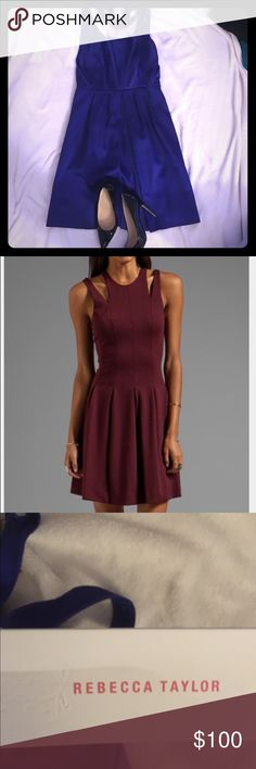 Brand new with tags Rebecca Taylor satin  dress. Beautiful satin designer dress perfect for weddings, dates, and every other occasion you could think of! Red photo shows the dress fit, but dress sold is violet. Rebecca Taylor Dresses Mini