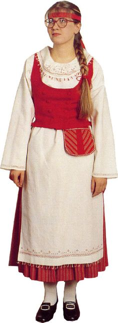 Folk dress of Hattula region, Finland Family Tree For Kids, Thinking Day, Folk Costume, Black And White Pictures, Traditional Dresses, Bell Sleeve Top, Sari, Folklore, How To Wear