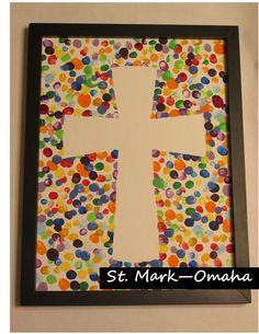 Pastor appreciation - in honor of 25 years of the ministry, a group of kids made 25 fingerprints each around a paper cross on a canvas, when the paper cross was pulled off, the white of the canvas in a cross shape remained