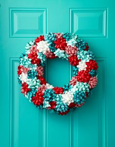 "To turn store-bought bows into a jolly wreath, first attach a loop of floral wire (for hanging) around a 16"" Styrofoam wreath form ($3.99; Save-on-crafts.com) Then, hot-glue gift bows to the front and sides of the form. Keep it festive with a classic red-and-white combo or mix in powder blue for a wintry look."