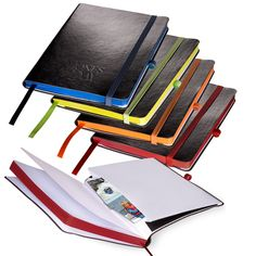"""Whether it's back to school or a day in the office; everyone can use a new Custom Large Venezia Journal! The useful Custom Large Venezia Journal is a customer voted """"Top 100"""" item and can be easily customized to be the perfect addition to your branding. About this Multi Color Large Venezia Journal: • The Custom Large Venezia Journal is made of Soft faux leather cover with matching colored edges, bookmark, pen loop and elastic loop closure. • The Custom Large Venezia Journal features 96…"""