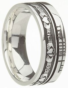 The Wedding Band Shop Sterling Silver Claddagh with Ogham Script Band