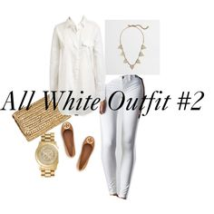 All White Outfit #2 by adowling on Polyvore featuring American Eagle Outfitters, Tory Burch, H&M, J.Crew and MICHAEL Michael Kors