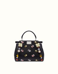 FENDI PEEKABOO REGULAR - handbag in black nappa - view 1 detail Fendi 262fed3fc2bb3