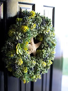 Dress up your front door with a succulent wreath. Learn how to make one here: http://www.bhg.com/gardening/container/plans-ideas/make-a-succulent-wreath/?socsrc=bhgpin111412succulentwreath