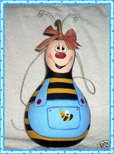 Hand painted Gourd Bumble Bee Birdhouse wearing by llister on Etsy, $19.99