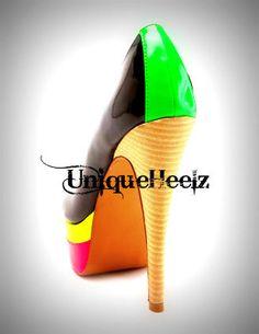 Swarovski Crystal Multi Neon Toe Pump Size 8 FREE by UniqueHeelz, $149.99