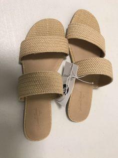 ffb2610d09b2 Universal Thread Women s Tan Anniemae Woven Slide Sandals Size 6