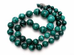 "Large Green Malachite Bead Necklace 23"" Sterling Silver Hand Knotted Vintage 