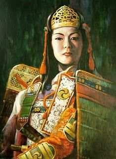 Tomoe Gozen (1157-1247) legendary female samurai warrior with incredibly strong archery skills and swordsmanship