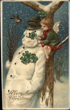 Vintage postcard - A Very Merry Christmas with Cherub, Shamrocks & Snowman by Ellen Clapsaddle