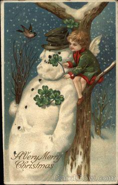 Vintage postcard - A Very Merry Christmas with Cherub, Shamrocks & Snowman by Ellen Clapsaddle