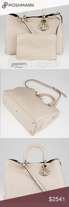 """C.D. calfskin leather large diorissimo tote bag Overall Condition: Gently used Designer: Christian Dior Material: Light pink pebbled leather Includes: Christian Dior dust bag, matching pouch, authenticity card, and booklet Origin: Italy Production Year: 2012 Date/Authenticity Code: 19-MA-0152 Measurements: 15"""" L x 5"""" W x 10"""" H                                                                Handles: Double rigid leather handles and detachable, adjustable leather shoulder strap Interior Lining…"""