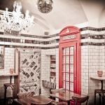 'Fish and Chips' restaurant in Prague. Great British look for great British food. Fish And Chips Restaurant, Great British Food, Prague City, White Tiles, Big Ben, Red And White, Building, Interior, Newspaper