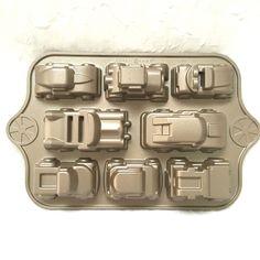 Nordic Ware Cast Aluminum Classic Cars Sweet Rides Cupcake Pan ~ 5 Cups EUC #NordicWare