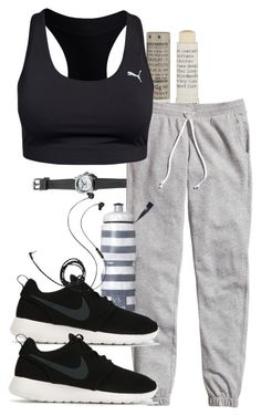 """Damon inspired work out outfit"" by tvdstyleblog ❤ liked on Polyvore featuring Henri Bendel, Korres, H&M, Puma, Victoria's Secret, NIKE and Molami"
