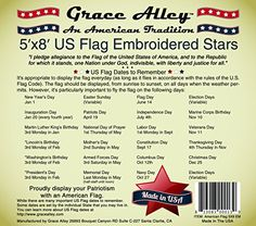 """US Flag 5×8: 100% American Made. American Flag 5×8 ft. Quality Embroidered Stars & Sewn Stripes. Free Shipping for Prime Members and Amazon A to Z Guarantee. Durable & Long Lasting USA Flags by Grace Alley. This 5 x 8 ft. US Flag Meets US Flag Code.  US Flags by Grace Alley – 5×8 ft. American Flag Embroidered Stars and Sewn Stripes – Nylon      ★  US Flag Made In US:  100% American Flag. Don't fall Victim to """"Cheap China Knock Offs"""". This Flag is an Original Grace Alley American Made.."""
