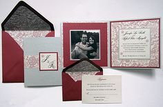 We think this festive suite is perfect for any season! The Silver & Mars color scheme is enhanced by the use of a Black & White Photo and the Garden paper from our Design Your Own … Red Wedding Invitations, Wedding Invitation Samples, Wedding Programs, Invitation Cards, Invitation Ideas, Invites, Diy Wedding, Rustic Wedding, Wedding Ideas