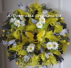 BEEutiful BirdhouseDeco Mesh Wreath by ADoorableCreations05, $89.00