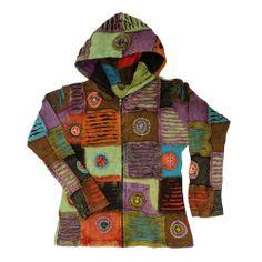 Bohemian Hippie Patchwork Razor Cut Hoodie Peace Spiral Jacket Nepal