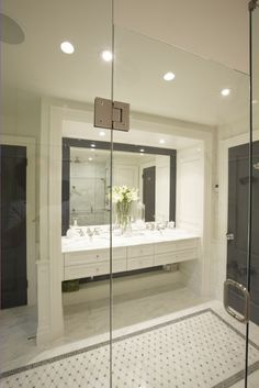 bathrooms - black white gray cream mosaic inlay floor carrara floating console drawers traditional vanity mirror