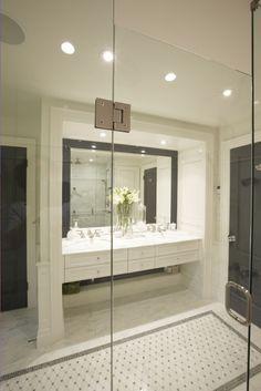 bathrooms - black white gray cream mosaic inlay floor carrara floating console drawers traditional vanity mirror